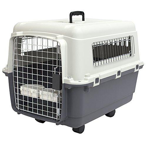 SportPet Designs Plastic Kennels Rolling Plastic Wire Door Travel Dog Crate - Medium