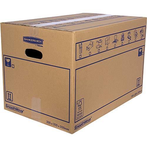 BANKERS BOX SmoothMove Cajas de transporte y mudanza muy resistentes, de doble espesor, con asas, 67 litros, 35 x 35 x 55 cm, pack de 10