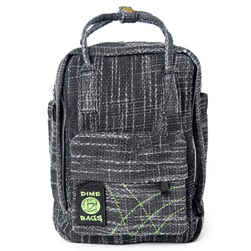 Dime Bags Hot Box Mini Backpack | Multi Pocket Small Backpack made of Premium Hemp and Recycled Materials | School Backpack or Small Travel Bag (Black)