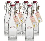 Kilner Clip Top Square Bottle 0.25 Litre, Metal, Juego de 6 piezas