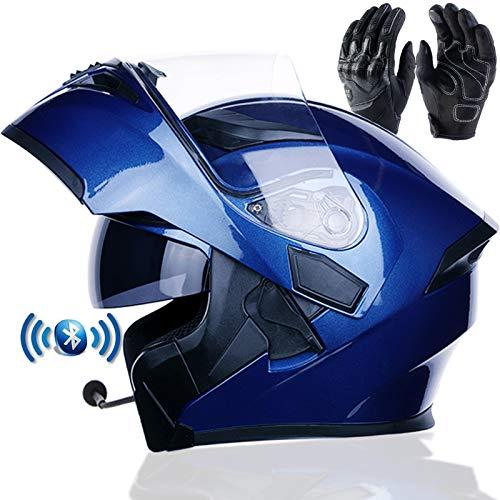 Braveking Motorradhelm, Double Lens Flip Vollvisierhelm Mit Bluetooth-Headset, Unisex-Elektroauto-Schutzhelm, Zu Öffnende Und Zu Schließende Entlüftungsöffnungen, DOT-Zertifiziert,3,M