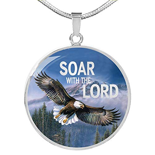 Express Your Love Gifts Bible Verse Necklace Gift Soar with The Lord Circle Colgante, acero inoxidable, oro 18k 18 - 22',