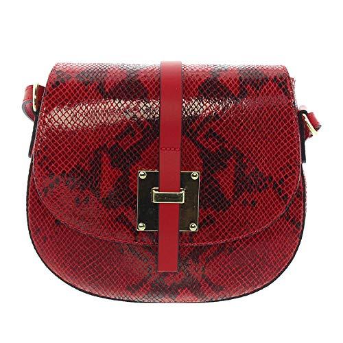 IO.IO.MIO echt Leder Schultertasche Handtasche Damen Umhängetasche Saddle Bag Fashion Ledertasche Schlangen Prägung rot