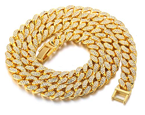 Halukakah Goldkette Herren Iced Out,18 Karat Echt Gold Vergoldete 14mm Männer Choker Kette,Goldenes,Miami Kubanische Panzerkette,45cm,Geschenk für Mann
