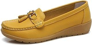 Gangxia 豆豆鞋女浅口坡跟平底透气妈妈牛筋软底单鞋镂空女鞋夏季皮鞋