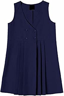 Momo&Ayat Fashions Girls School Uniform 4 Button Wrap Over Style Pleated Pinafore Dress Age 2-16 Years