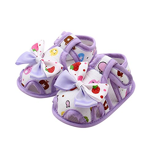WUAI-Baby Shoes Infant Boys Girls Summer Sandals Rubber Sole Anti-Slip Sneakers Prewalkers First Walker Crib Shoes(Purple,6~12 Month)