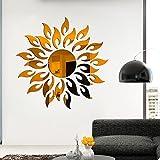 Acmxk Azulejos Adhesivos para Sala de Estar Dormitorio Cocina Baño, Mural del Arte del Espejo del Sol 3D DIY Papel Pintado, Impermeable Protector contra Salpicaduras