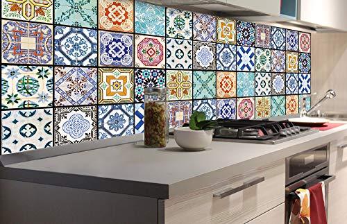 DIMEX LINE Küchenrückwand Folie selbstklebend AZULEJOS | Klebefolie - Dekofolie - Spritzschutz für Küche | Premium QUALITÄT - Made in EU | 180 cm x 60 cm