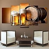 ASSBD Impresiones sobre Lienzo,5 Piezas Barril De Madera Trigo Cerveza Sala Lienzo Cartel Creativo Modular Decoración del Hogar Arte De La Pared Tamaño D