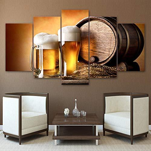 baqianli 5 Quadri Moderni Birra,Moderno Stampa 5 Parti Soggiorno Camera da Letto Decorazione Murale Arte Muraria 150Cmx80Cm(SenzaCornice)