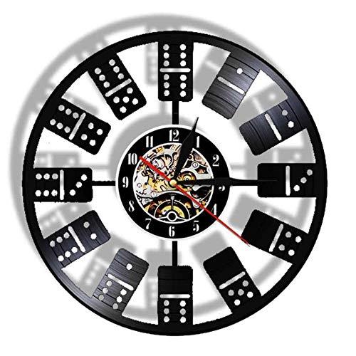 Wangzhongjie Dominoes Clásico, Luz De Pared Led, Lámpara De Luz Nocturna, Juego De Ajedrez, Bloques De Entretenimiento, Reloj Hecho De Disco De Vinilo Real