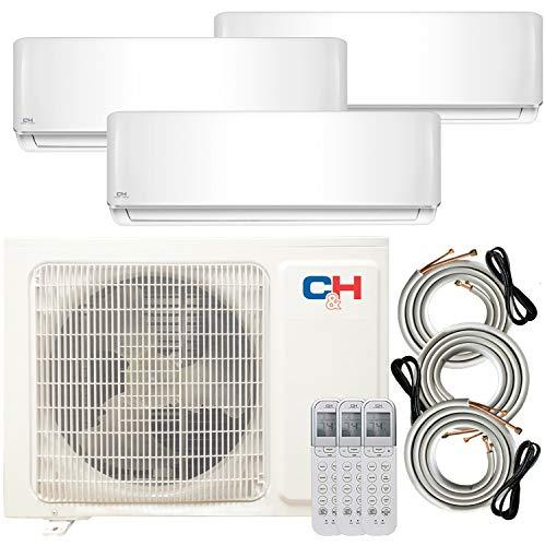 COOPER AND HUNTER 28,000 BTU Multi Zone Tri 3 Zone 12000 12000 12000 Ductless Mini Split Air Conditioner Heat Pump Full Set