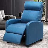 ERGOREAL Massage Recliner Chair Modern Reclining Single Sofa for Living Room, Linen Fabric Winback Chairs, Thicken Cushion, Home Theater Seat Adjustable Massage Remote-Blue