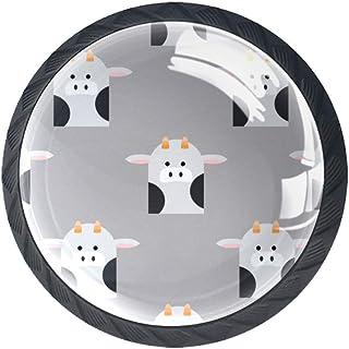 Juego de 4 tiradores de cristal con forma de bosque de animales para armarios cajones con tornillos para el hogar o la o...