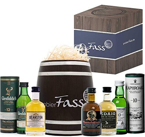 Männer-Geschenk   5 x 50ml Whisky Single Malt Topseller   verpackt in einem edlen Fass