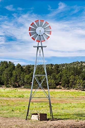 MORCOE 8ft Garden Windmill,Heavy Duty Metal Weather Vane for Backyard,Ornamental Windmill for Yard Weather Resistant,Grey