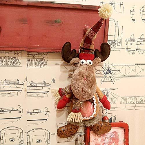Surwin Cortina Decoraciones para árboles de Navidad, 2pcs Colgante de árbol de Navidad Decoraciones para el hogar Adornos Colgantes de Navidad Regalos de Adorno (Alce,43x22cm)