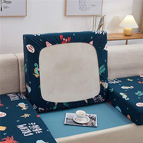 Sofa-Sitzkissenbezüge Sofakissen Schonbezüge Stretch Couch-Kissenbezüge Elastischer Ersatz für Einzelkissen (Ozean, Groß 3-Sitzer)
