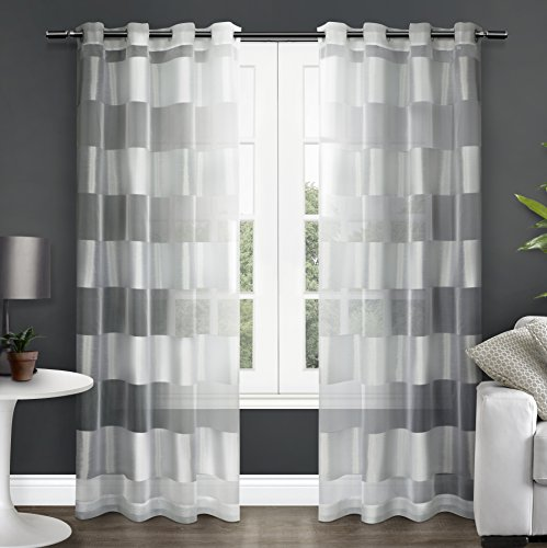 Exclusive Home Curtains Navaro Striped Sheer Window Curtain Panel Pair with Grommet Top, 54x84, Winter White, 2 Count