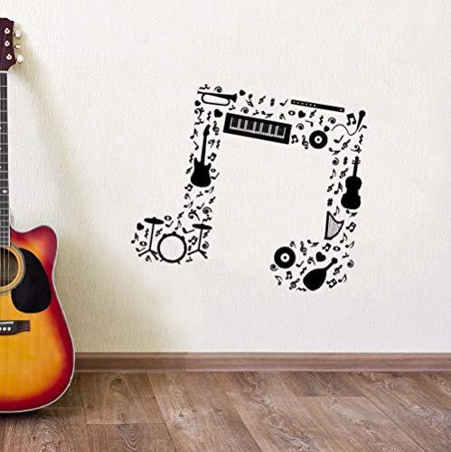 Muzieknoten muurstickers gitaar saxofoon tas drumband orkest muzieknoten vinyl kunst aan de muur <> 68x60cm