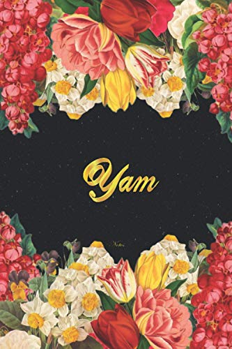 Yam Notes: Lined Notebook / Journal with Personalized Name, & Monogram initial Y on the Back Cover, Floral cover, Gift for Girls & Women