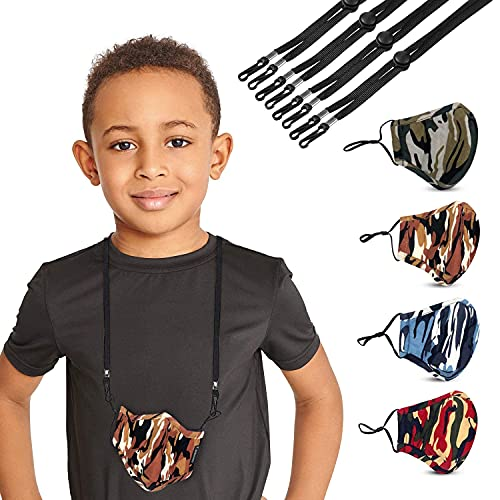 Camooo Kids Face Mask 4 Pack with 4 Mask Lanyards Black - Cotton Masks - Washable, Reusable, Breathable, Adjustable - for Childrens, Kid, Boys, Girls, Children- Camouflage Facemasks, Lanyard