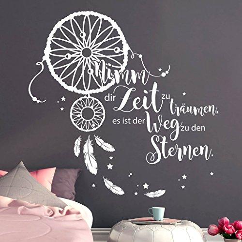 Wandtattoo Schriftzug Nimm dir Zeit zu träumen, es ist der Weg zu den Sternen. Traumfänger/weiß / 60 cm hoch x 61 cm breit