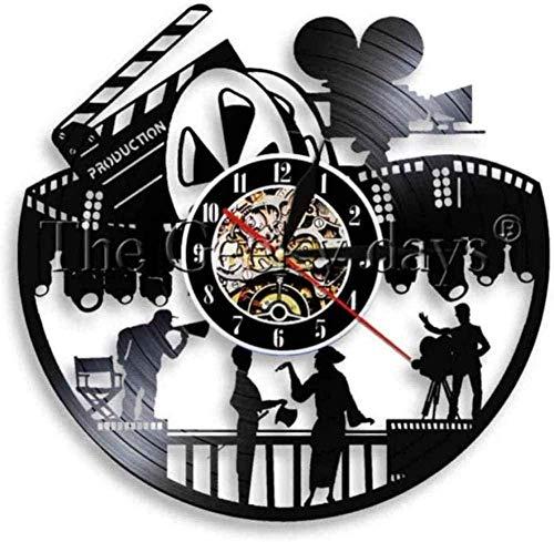Reloj de Pared con grabación Nocturna de película, diseño Moderno, Carrete de Teatro, Actor de Cine, película, Reloj de Pared con grabación de Vinilo