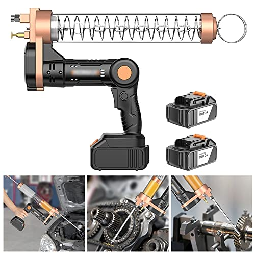 Hailong Cordless Electrical Pistol Grip Grease Gun, 12000 PSI Heavy Duty Grease Guns, Metal Extension, Normal Coupler and Sharp Nozzle (Color : Suitable bagged oil, Size : 2 x battery)