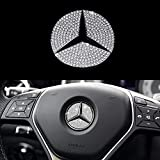 FumSun Bling Steering Wheel Logo Caps Compatible with Mercedes Benz, DIY Diamond Crystal Emblem Accessories Interior Decorations for Women(49mm Sliver)