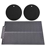 Drying Mat, Silicone Dish Drying Mat Large for Kitchen Counter and 2 Silicone Trivets/Pot Holders for Kitchen, Heat Resistant, Dishwasher Safe, Multiple Usage