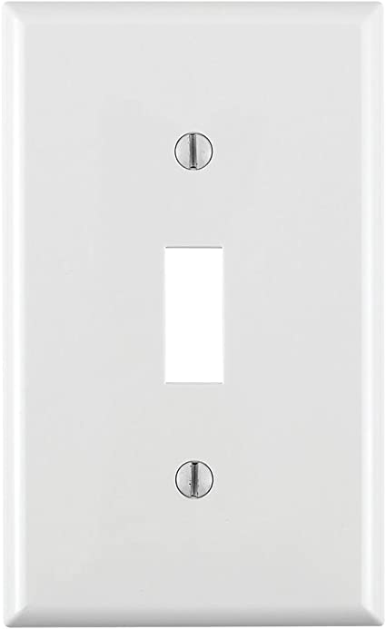 Leviton 80701 W 1 Gang Toggle Device Switch Wallplate Standard Size Thermoplastic Nylon Device Mount White Switch Plates