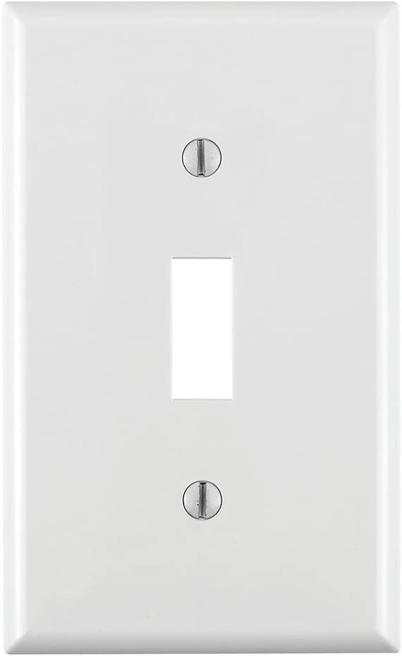Leviton 80701 W 1 Gang Toggle Device Switch Wallplate Standard Size Thermoplastic Nylon Device Mount White Switch Plates