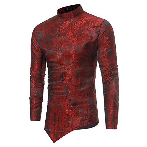 Occasions:daily,casual,party,cosplay,vocation,formal,wedding,work,business. Material: 97%polyester+3%cotton, soft and comfortable. This stylish floral shirts features grandad collar and long sleeves, embraces both modern and traditional style to embo...