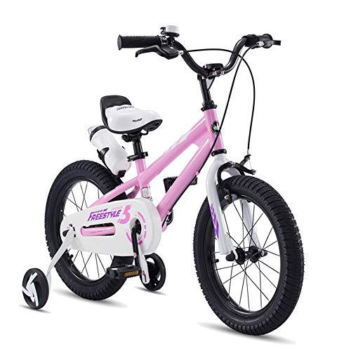 Axdwfd Freestyle Kinderfietsen, jongens van meisjes, voor kinderen, kinderfiets, 5 kleuren, 12 inch met stabilisatoren, waterfles en houder