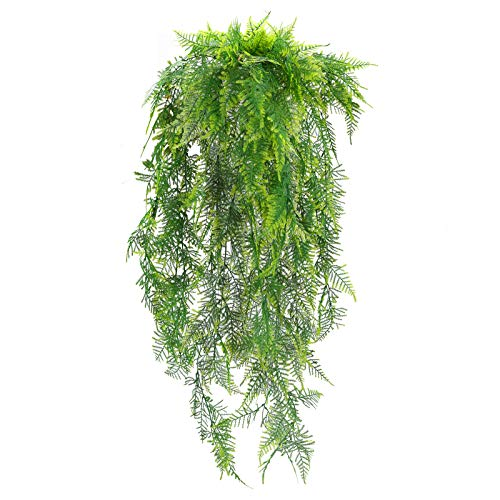 DWANCE 2PCS Dekopflanze Hängend Deko Pflanze Hänge Kunstpflanzen Künstliche Balkonpflanzen für Wand Tür Outdoor Topf Hängeampel Balkon Garten Dekoration Grün