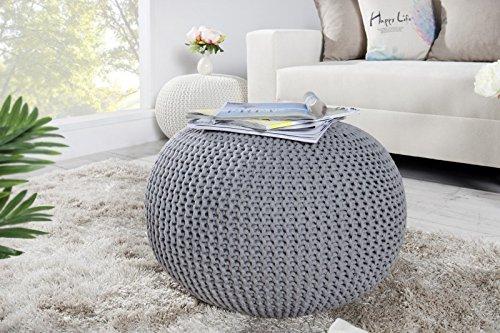 DuNord Design Hocker Sitzkissen Strickhocker Pouf 50cm grau Beistelltisch Strick Ablage