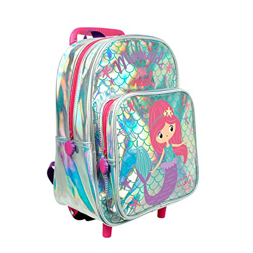 PERLETTI Mermaid Carry On Backpack Children 2/5 Years with Large Pocket - Toddler Kid Rucksack with Wheels for Kindergarten Travel - Little Girl Daypack with Reflective Piping - 33x23x15 cm (Mermaid)