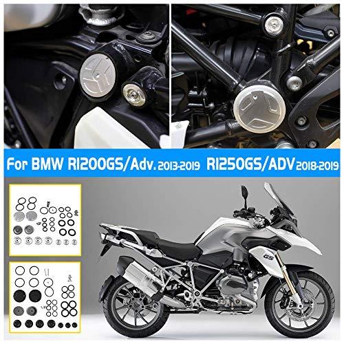 Accessoires Moto CNC en Aluminium Décoration Cadre Trou Bouchon Insert Couvercle Kit Kit pour B-M-W R1200GS R1250GS ADV Adventure GSA 2013 2014 2015 2016 2017 2018 2019 (Argent)