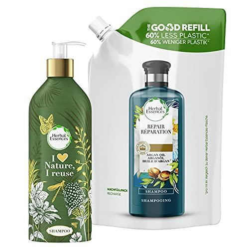 Herbal Essences, Shampoing Réparation, Kit Bouteille Rechargeable Écologique et sans Plastique + 1 Recharge, Total 910ml