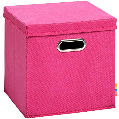 Schmetsdorf (H&S) Aufbewahrungsbox MIA mit Deckel - Faltbox - Korb - 28x28x28 cm - (Pink)