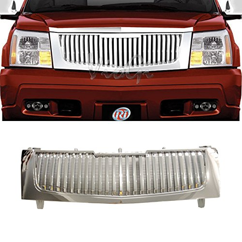 VIOJI 1pc Chrome Strong ABS Plastic Badgeless Vertical Style Front Main Upper Grille Compatible with 02-06 Cadillac Escalade Base EXT ESV All Models