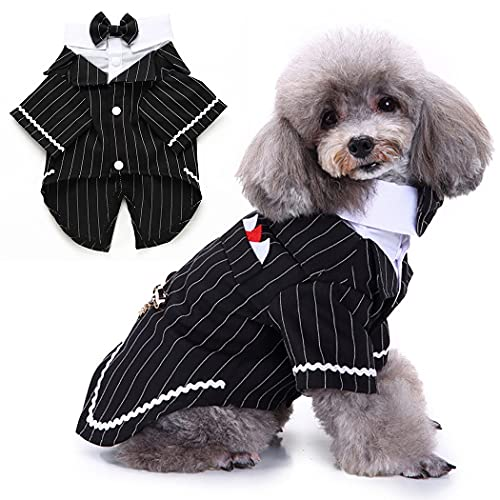 Pet Dog Clothes Festival Wedding Suit Bow Tie Puppy Dog Tuxedo Coats Jackets (Color : Black, Size : Medium)