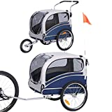 Sepnine and Leonpets Large Size Bicycle pet Trailer and Jogger 2 in 1 Function of Blue Color 20303L…