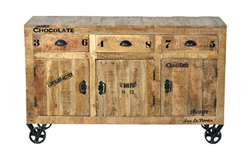 SIT-Möbel Rustic 1903-04 Sideboard mit 3 Türen, 3 Schubladen, aus Mangoholz, Antik, braun, Wortprints, 145 x 45 x 91 cm