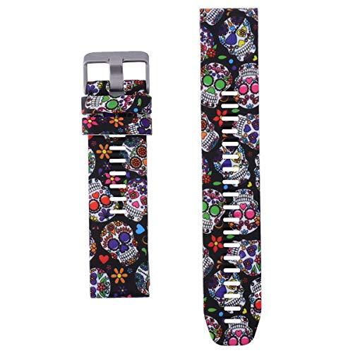 Pulseira de relógio de liberação rápida de substituição de pulseira de silicone compatível para Garmin Fenix ??5 Plus/Instinct/Forerunner 935 945 - Crânio colorido