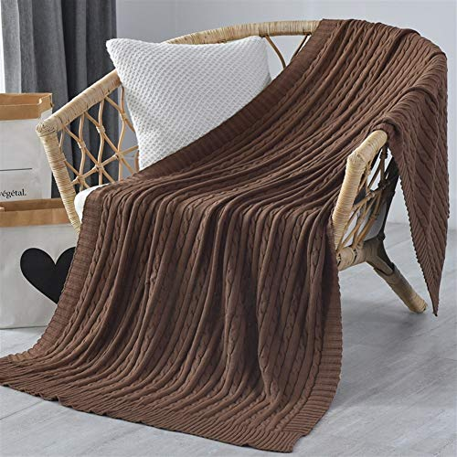 Versatile Cotton Knitted Throw Blanket Extra Soft Throws Blanket Bed Sofa Cable Knit Throw Blanket Super Soft Warm Multi Color sofa (Color : Brown, Size : 180cmx200cm)