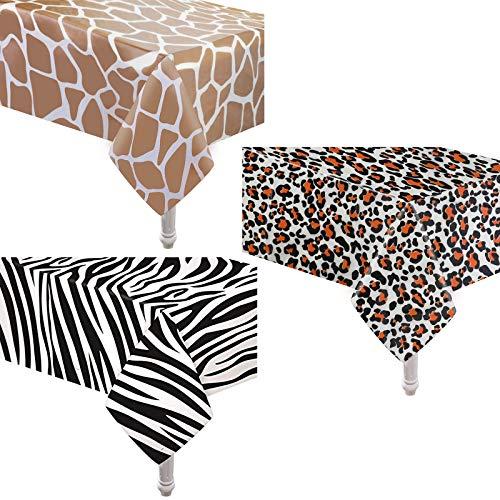 PHOGARY 3 Mantel de Fiesta con Temática de Animales de la Selva, Mantel de Mesa de Cumpleaños para Niños, Mantel Desechable para Fiesta de Safari, 54 x 108 Pulgadas