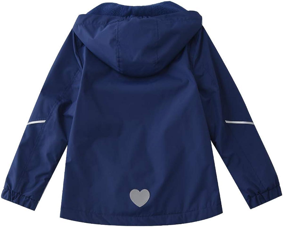 Hiheart Girls Windproof Fleece Lined Jackets with Hood Waterproof Windbreaker